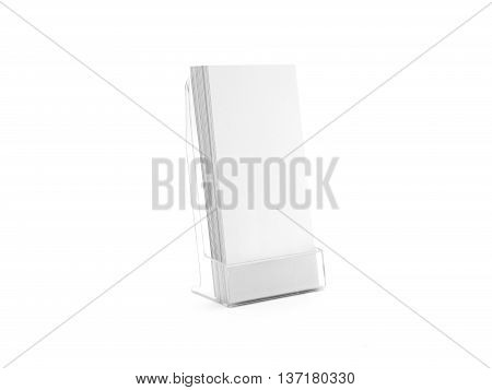 Flyer glass plastic holder. Flier stand. Brochure holding mock up for the design presentation isolated on white. Showing leaflet design. Empty pamphlet template.
