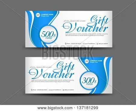 Blue Gift Voucher template coupon layout flyer design ticket card vector illustration