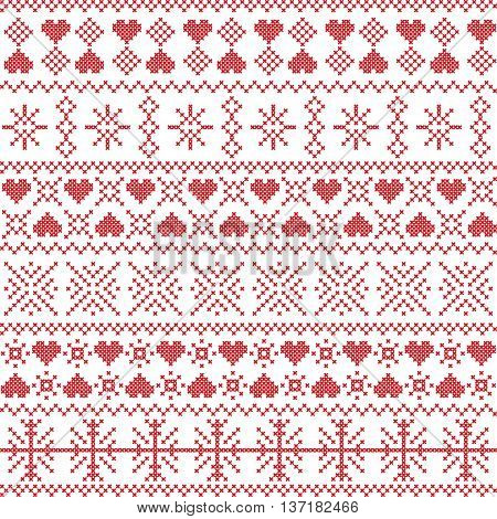 Scandinavian,  Nordic style winter stitching Christmas seamless pattern  including snowflakes, hearts, snow, stars elements and  decorative ornaments in red on white background  background poster