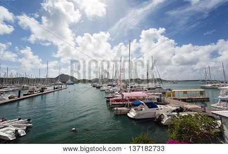 Le Marin/Martinique - 07 January 2016: The picturesque marina of Le Marin in Martinique in West Indies