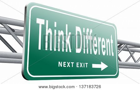 Think different and outside the box have individual thoughts, promote individuality and own will, be a non conformist, 3D illustration, isolated on white background