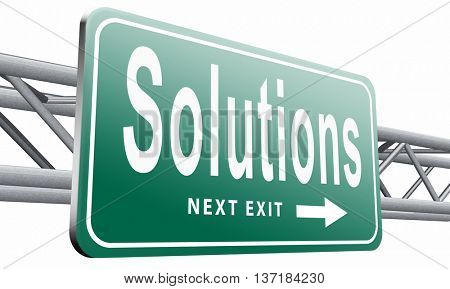 solutions solve problems and search and find a solution road sign billboard, 3D illustration, isolated on white background