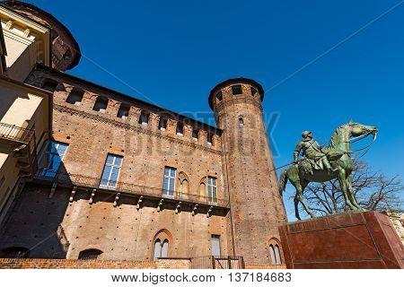 Detail of Palazzo Madama (Palace) 1718 - 1721 in Piazza Castello (Castle square) Turin (Torino) Piemonte Italy. UNESCO world heritage site poster