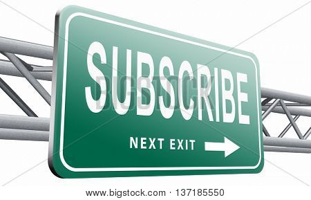 Subscribe here button online free subscription and membership for newsletter or blog join today, 3D illustration, isolated on white background