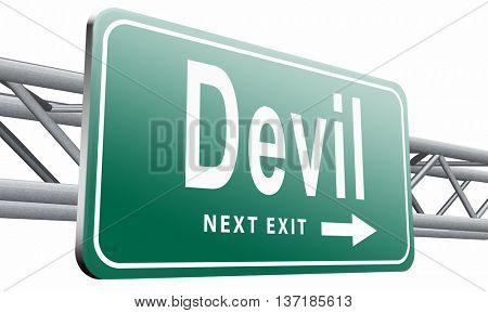 Devil evil satan burn in hell, 3D illustration, isolated on white background