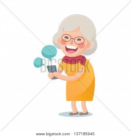 Vector Illustration of Happy Grandma Using Smart phone Isolated  on White Background, Cute Cartoon Character
