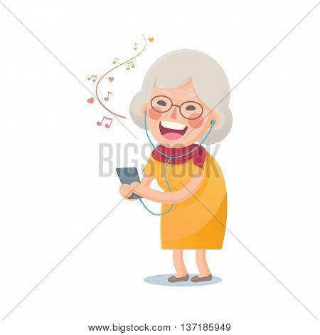 Vector Illustration of Happy Grandma Listen the Music From Smart phone Isolated  on White Background, Cute Cartoon Character