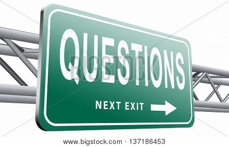 questions and solutions need serious answers helps or support desk information answer question with text and word concept, 3D illustration, isolated on white background