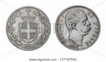 Two Lire Silver Coin 1882 Umberto I Kingdom of Italy isolated on white, Umberto I profile Mint of rome
