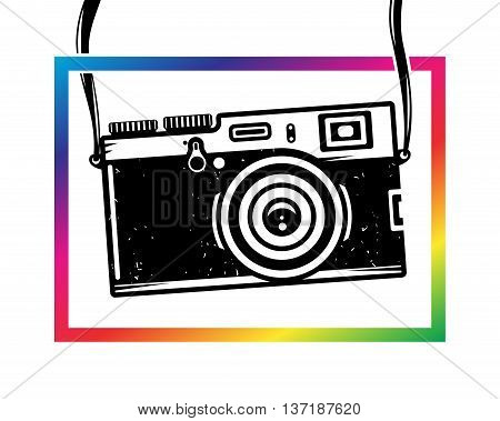 Vintage photo camera out of colorful frame, vector illustration for your cool design, eps10