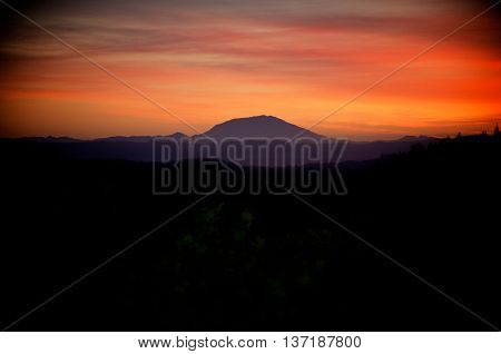 Sunset shot over Mt St Helens in the distance