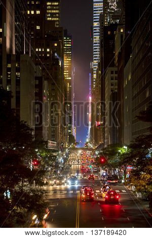 42nd Street in New York City with Grand Central and Times Square in the distance, focus in mid area of image.