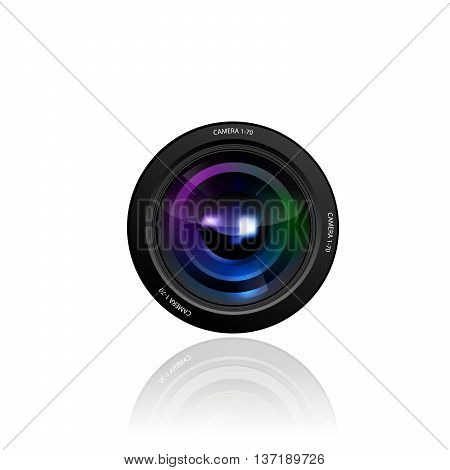 Camera Lens illustration on white background 10 eps.