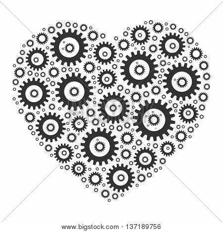 Heart shape mosaic of cog wheels. Looks like clockwork heart or love machine. Grey illustration on white background.