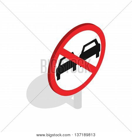 No overtaking sign icon in isometric 3d style isolated on white background