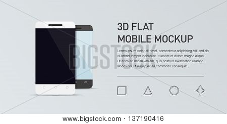 Minimalistic vector flat illustration of mobile phone. Mockup generic smartphone. Template for infographic or presentation. UI design. Concept graphic, UIX, web banner, printed material poster