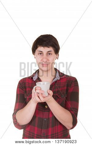 A woman holding a hot drink isolated on white