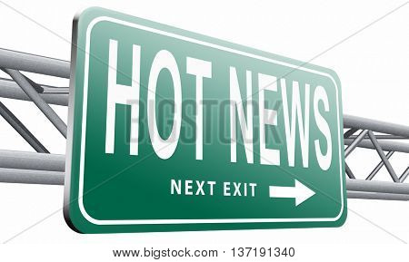 latest hot and breaking news items, 3D illustration isolated on white