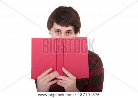 Portrait of a woman with a book isolated on white