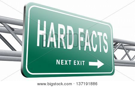 hard facts or proof, scientific proven fact and truth, road sign billboard, 3D illustration isolated on white