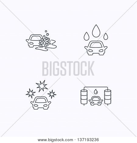 Car wash icons. Automatic cleaning station linear signs. Clean car, automatic carwash flat line icons. Flat linear icons on white background. Vector