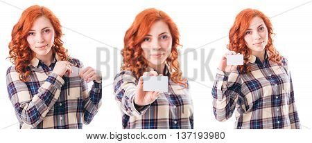 Close-up Portrait of Young Smiling Woman Holding Credit Card Isolated on White Background. Collage. Bank Finance Concept