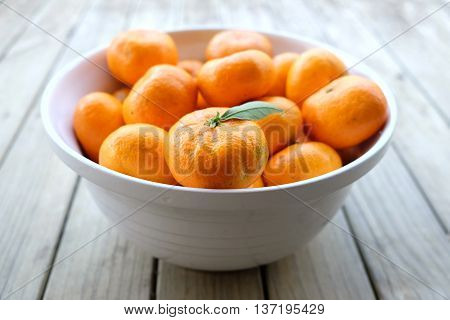 Imperfect satsuma mandarins - organic fruit produce - in a white bowl on a wooden background. Photographed with shallow depth of field in New Zealand.