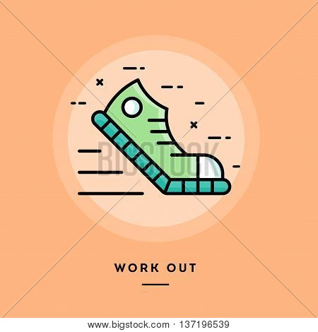 Work out flat design thin line banner usage for e-mail newsletters web banners headers blog posts print and more