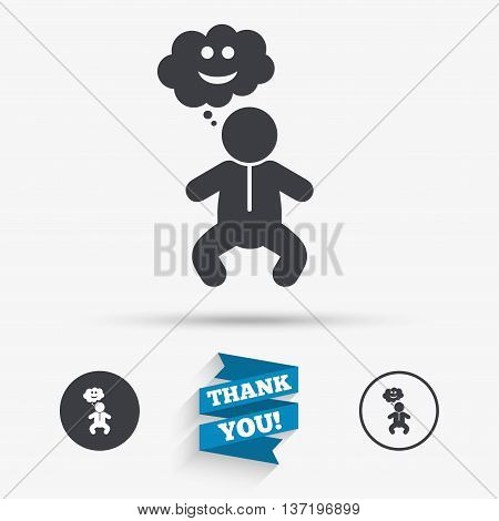 Baby infant happy think sign icon. Toddler boy in pajamas or crawlers body symbol. Flat icons. Buttons with icons. Thank you ribbon. Vector