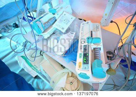 MOSCOW - APR 28, 2015: Syringe pumps Terumo for anesthetics in a modular tent of the field hospital