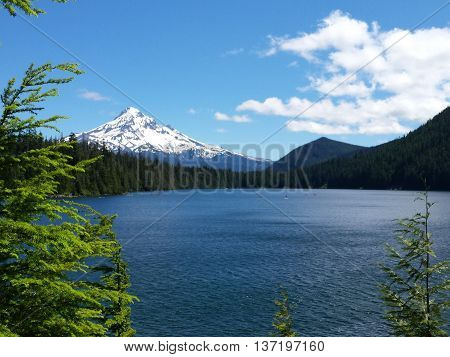 Mt. Hood view from Lost Lake campground, mountain lake