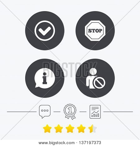 Information icons. Stop prohibition and user blacklist signs. Approved check mark symbol. Chat, award medal and report linear icons. Star vote ranking. Vector