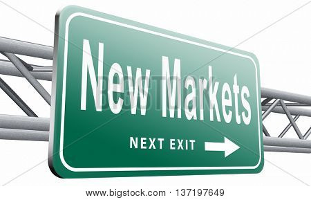 Emerging market new fast growing economy frantic economies, road sign billboard,3D illustration isolated on white.