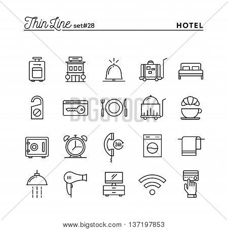 Hotel accommodation room service restaurant and more thin line icons set vector illustration