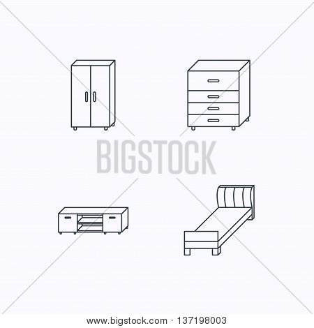 Single bed, TV table and cupboard icons. Chest of drawers linear sign. Flat linear icons on white background. Vector