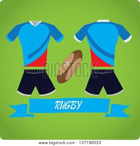 Rugby objects Sport uniform Vector illustration, rugby ball