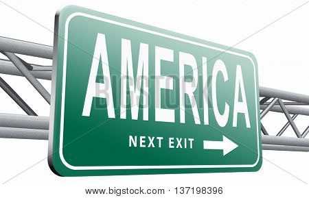America north america or south  and central america travel vacation and tourism continent, road sign billboard. 3D illustration isolated on white