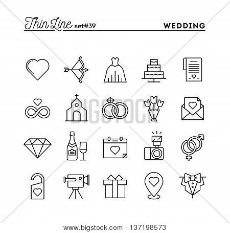 Wedding bridal dress event invitation celebration party and more thin line icons set vector illustration