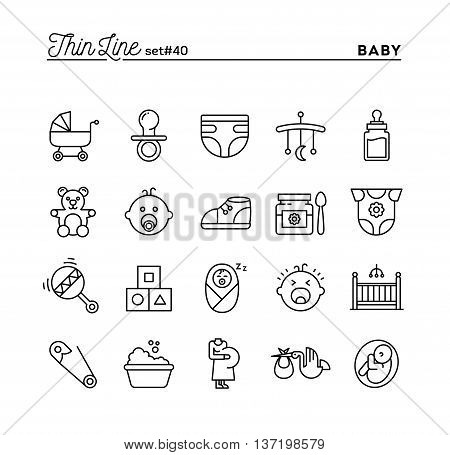 Baby pregnancy birth toys and more thin line icons set vector illustration