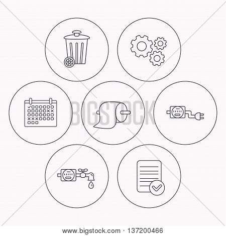 Trash bin, electricity and water counter icons. Toiler paper linear sign. Check file, calendar and cogwheel icons. Vector