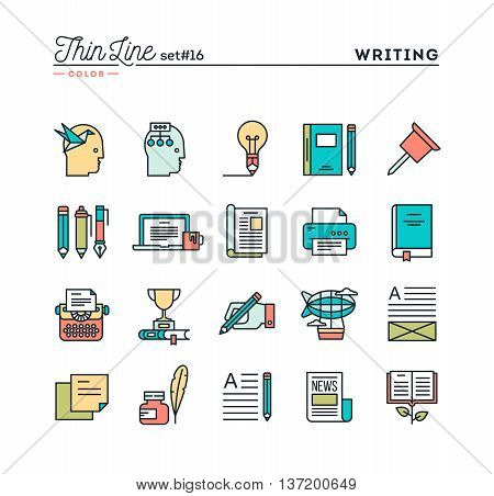 Writing blogging best seller book storytelling and more thin line color icons set vector illustration