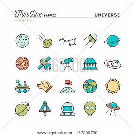 Universe celestial bodies rocket launching astronomy and more thin line color icons set vector illustration