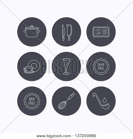 Kitchen knives, glass and pan icons. Food and drink, coffee cup and whisk linear signs. Soup ladle, heat-resistant and DEHP, BPA free icons. Flat icons in circle buttons on white background. Vector
