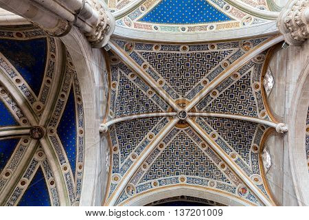 Ceiling Of The Certosa Di Pavia Monastery, Italy