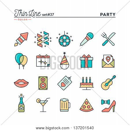 Party celebration fireworks confetti and more thin line color icons set vector illustration