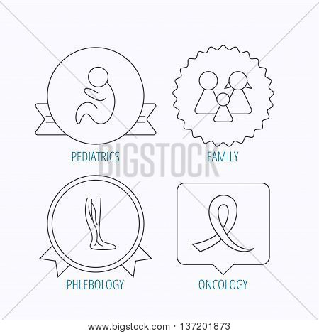 Family, pediatrics and phlebology icons. Oncology awareness ribbon linear sign. Award medal, star label and speech bubble designs. Vector