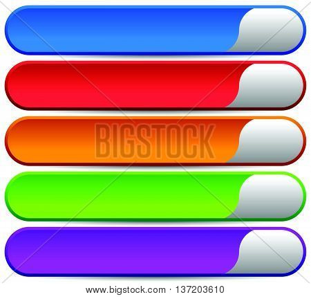 5 Colorful Button, Banner Backgrounds - Set Of Rectangular Button Background With Blank Space For Me