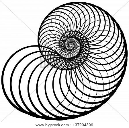 Snail, Helix Made Of Inward Rotating Circles. Abstract Element Isolated On White.