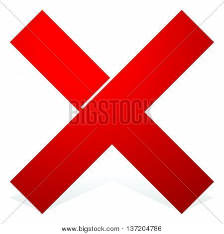 Red X Shape With Snick And Shadow Isolated On White. Cancel, Wrong, Decline Icon.
