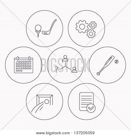 Football, golf and baseball icons. Vacancy linear sign. Check file, calendar and cogwheel icons. Vector